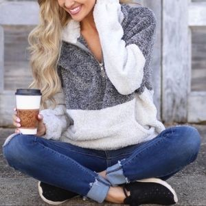 Sweaters - Two Tone Fuzzy Pullover ☕️🍂